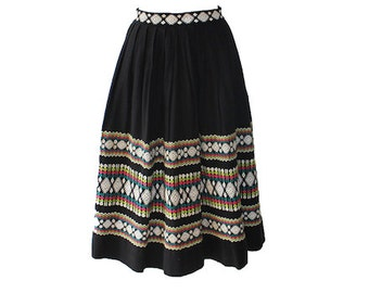 Vintage Guatemalan Multi Color Embroidered Aline Skirt 1950s