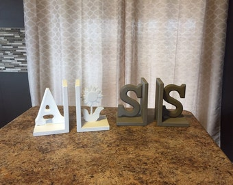 Wooden Bookends, custom Initial Bookends, Childrens Bookends, Letter Bookends