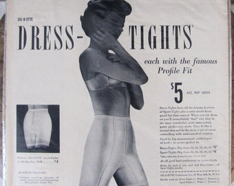 Sil-o-ette dress tights ad, Sil-o-ette sport tights ad, 1949 Sil-o-ette add, Vintage 1949 SIL-O-ETTE Dress-Tights Women Fashion Lingerie ad