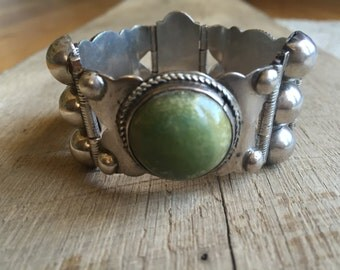Old Mark 1940s Silver Made in Mexico 3 Panel Green Turquoise Chunky Bracelet