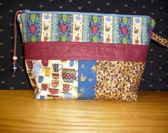 Medium coffee themed project bag, FREE SHIPPING!!! cosmetic bag, kindle or e-reader bag, knitting bag