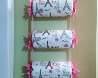 """Headband holder or head band holder organizer """"Pink Paris"""" in 4 tiers holder"""