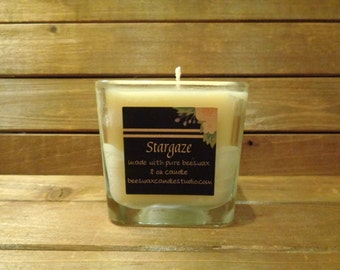 8 oz beeswax scented candle in square glass
