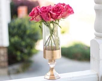 Gold Dipped Cylinder Vase