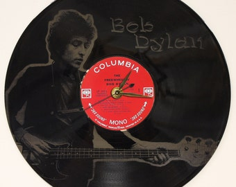 Bob Dylan - Laser Etched Vinyl LP Record - Battery Operated Wall Clock Great Gift For Him - Great Gift For Her - Great Music Lover Gift