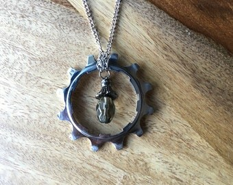 Handmade Recycled Bike Gear Necklace