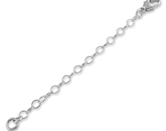 """Sterling Silver 3mm Necklace Extender Chain 1"""", 2"""", 3"""", 4"""", 5"""", 6"""""""