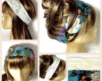 Headband stretch Bohemian floral lace headband boho headwear yoga festival headband set