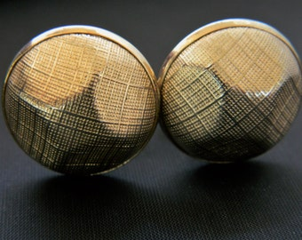 Men's Vintage 60s Round Cufflinks Textured Gold Tone Men's Mid Century Shirt Accessories 1""