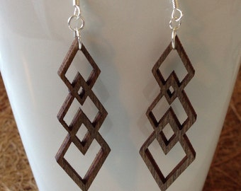 Geometric Laser Cut Diamond Wooden Earrings