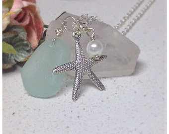 Starfish charm, sea glass and freshwater pearl necklace, ocean, nautical, sea creatures, nature, deep blue sea
