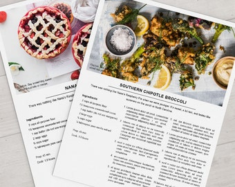 Printable Recipe Template - 8.5x11 Photoshop Instant Download