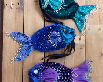 Handmade Beaded Fish Evening Purse/Reticule Bag