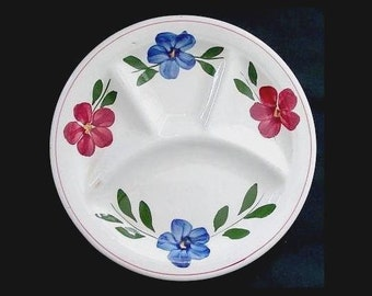 """10"""" Blue Ridge Divided 10.25"""" Plate Petunia aka Laurel Wreath Southern Potteries Hand Painted Blue Red Flowers (B17) 7284"""