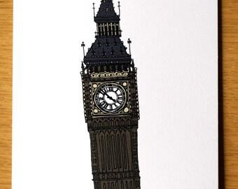 Big Ben, Greeting Card, Big Ben Clock, London Landmark, London Card, London Art, Line Drawing, Hand Drawn Card, Note Cards