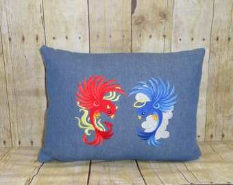 Pillow - Embroidered - Angel and Devil Birds