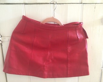 Cute red vintage leather A-line skirt