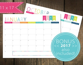 126 Monthly Calendar 2016 / plus 2017 Free | Printable Calendar Pages | Monthly Planner | Wall Calendar | 11 x 17 pdf file INSTANT DOWNLOAD