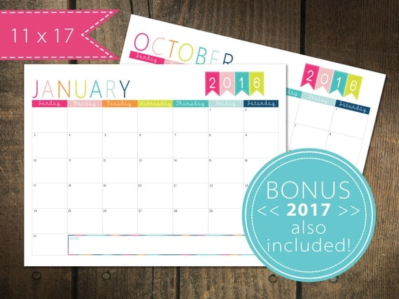 126 Monthly Calendar 2016 / plus 2017 Free | Printable Calendar Pages ...