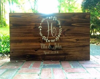 Rustic Wedding Guest Book Personalized Wooden Guest Book Shabby Chic Wooden Guest Book Sign
