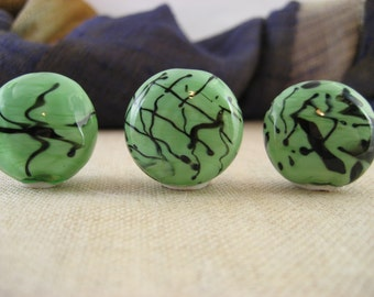 Lampwork Glass Beads - Set of 3 Lentils - Green and Black (001-14W4)