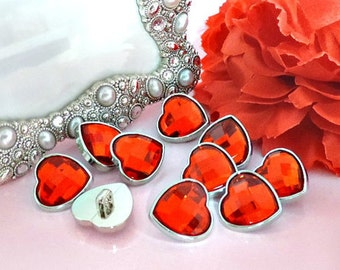 RED Rhinestone Heart Buttons Valentine's Day Rhinestone Buttons Coat Buttons Fashion Garment Buttons 19mm 3177 3R
