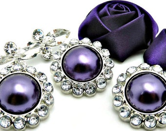 DARK PURPLE Pearl Rhinestone Acrylic Buttons W/ Crystal Clear Surrounding Rhinestones Brooch Button Bouquet Coat Buttons 26mm 3185 55P 2R