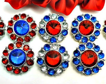 Wholesale 4Th Of July Rhinestone Patriotic Buttons Red White & Blue Plastic Acrylic Rhinestone Buttons DIY Accents Wedding 25mm 2997