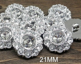 CRYSTAL CLEAR Rhinestone Buttons Round Buttons Garment Buttons DIY Embellishments Bridal Buttons Sewing Buttons 21mm 2997 2R