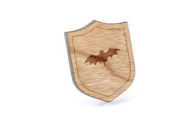 Flying Bat Lapel Pin, Wooden Pin, Wooden Lapel, Gift For Him or Her, Wedding Gifts, Groomsman Gifts, and Personalized