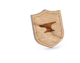 Anvil Lapel Pin, Wooden Pin, Wooden Lapel, Gift For Him or Her, Wedding Gifts, Groomsman Gifts, and Personalized