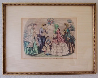 Antique Fashion Plate Print from 1852