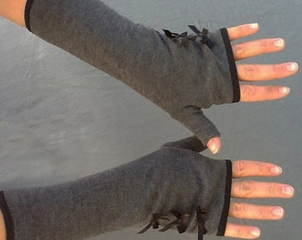 Womens Handmade Fingerless Gloves, Fashion Gloves, Gray Sweater Knit, Black Satin Bows, Arm Warmers, Texting Gloves
