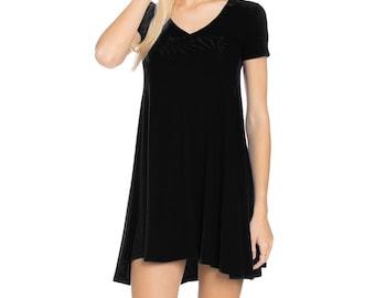 Fashionazzle Women's Solid Rayon Short Sleeve V neck Tunic Dress Black