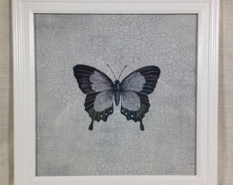 Framed Butterfly Print on Fabric