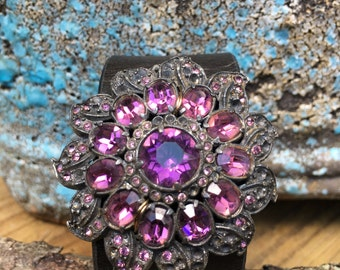 Gothic Black and Purple Vintage Rhinestone Brooch Leather Cuff Bracelet, Jeweled Cuff Bracelet, Jeweled Leather Cuff, Free Shipping