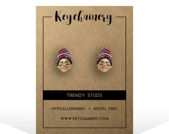 Tom Brady Stud Earrings - New England Patriots Inspired - Go Pats!