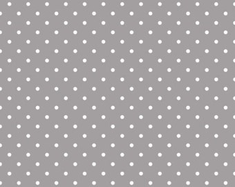 Riley Blake, White Swiss Dots on Gray, fabric by the yard
