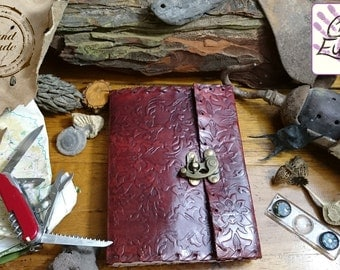 Handmade Leather Journal  Embossed Front and Back with Brass C-Lock to Close