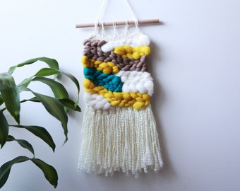 "SALE Mustard Yellow and Blue Woven Wall Hanging - 12"" x 22"""