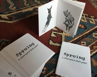 Sproing! silkscreened artist book/zine with goats