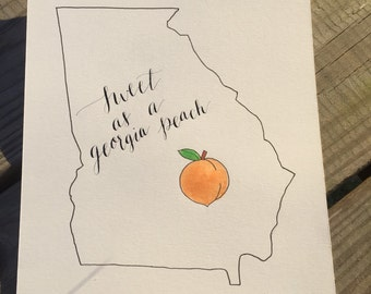 Sweet as a Georgia Peach Calligraphy Print