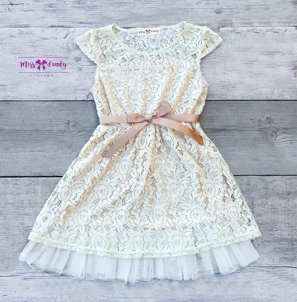 Ivory Flower Girl Dress, Flower Girl Dress, Lace Flower Girl dress - Rustic Flower Girl Dress Set- Champagne flower girl dress & Sash Belt-