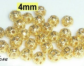 30 gold tone filigree beads 4 mm (104.4)