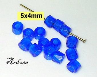 15 glass beads blue tube 5x4mm (K897. 1)