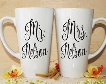Mr Mrs mug-Bridal shower gift-Wedding mugs-Anniversary gift-Mr and Mrs-Wedding mug-Mr and Mrs mugs-Wedding anniversaries-His and her mugs