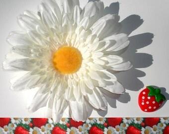 Inspiration Embellishment Kit Gerbera Daisy Silk Flower Grosgrain Ribbon Strawberry Resin Flatback Hair Bows Hats Home Decor Scrapbooking