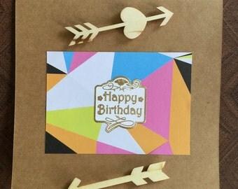 Happy Birthday Handmade Card with Arrows
