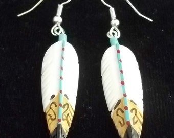 Southwest Silver and White Buffalo Turquoise Earrings FEATHERS Painted