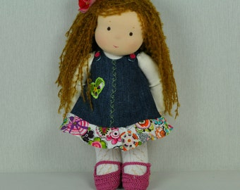 Textile Waldorf doll Katy 34 sm, hand made puppe